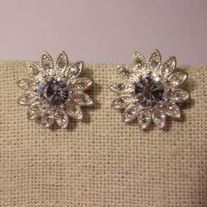Napier Rhinestone Silver Tone Flower Clip Earrings